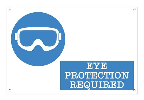 Eye Protection Required White Aluminium Metal Sign